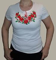 """Вишиванка з білого стрейч-куліру, жіноча футболка """"Рози розмір S-3XL"""