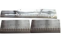 Volkswagen LT 1998↗ гг. Накладки на пороги (3 шт, нерж) Carmos - Турецкая сталь (c надписью), фото 1