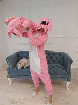 Пижама Кигуруми розовый Стич для всей семьи Украинского производства, фото 2