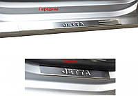 Volkswagen Jetta 2006-2011 гг. Накладки на пороги Турция (4 шт, нерж.) OmsaLine - Итальянская нержавейка