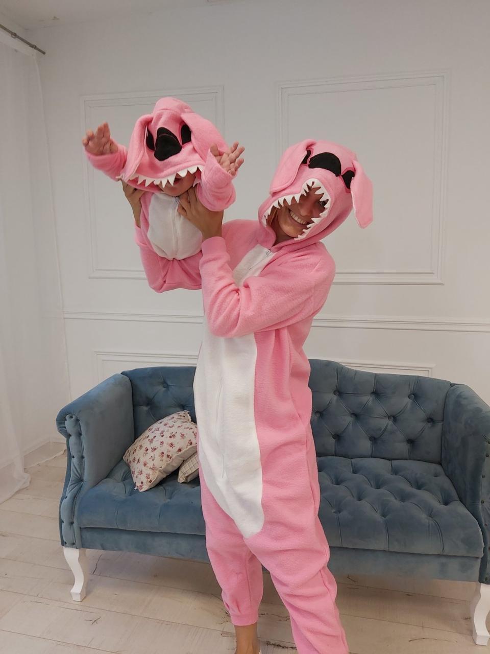 Пижама Кигуруми розовый Стич для всей семьи Украинского производства Размер 134-152 см