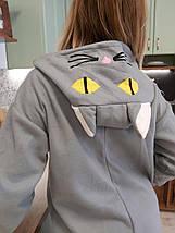 Пижама Кигуруми серая кошка для детей и взрослых Размер 110-128 см, фото 3