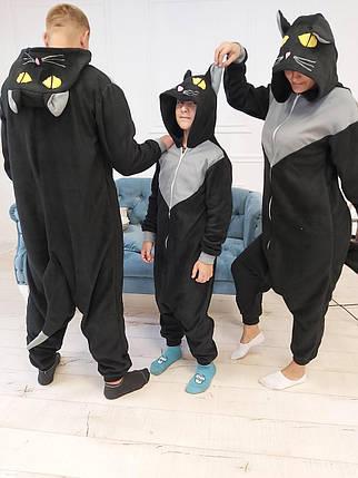 Пижама Кигуруми Черный кот для всей семьи Размер 134-152 см, фото 2