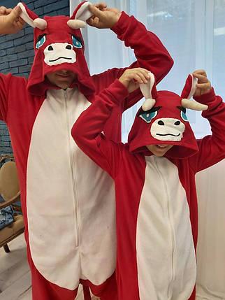 Пижама Кигуруми Бык для всей семьи Размер 134-152 см, фото 2