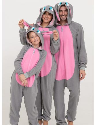 Пижама Кигуруми Серый заяц для детей и взрослых Размер 110-128 см