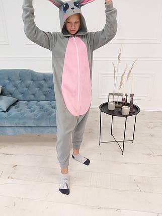 Пижама Кигуруми Серый заяц для детей и взрослых Размер 134-152 см, фото 2