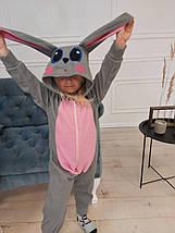 Пижама Кигуруми Серый заяц для детей и взрослых Размер 155-180 см, фото 2