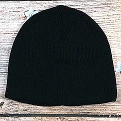 Чёрная однотонная мужская шапка с флисом (5 шт)
