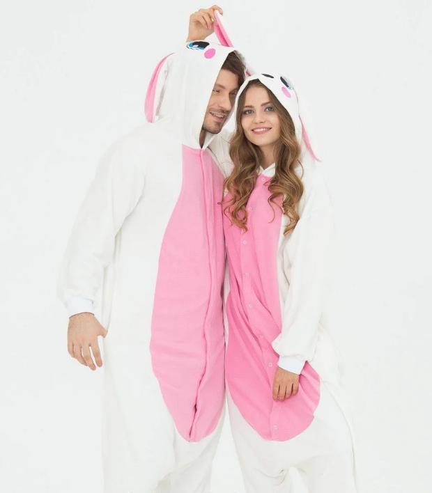 Пижама Кигуруми белый заяц для всей семьи Украинское производство