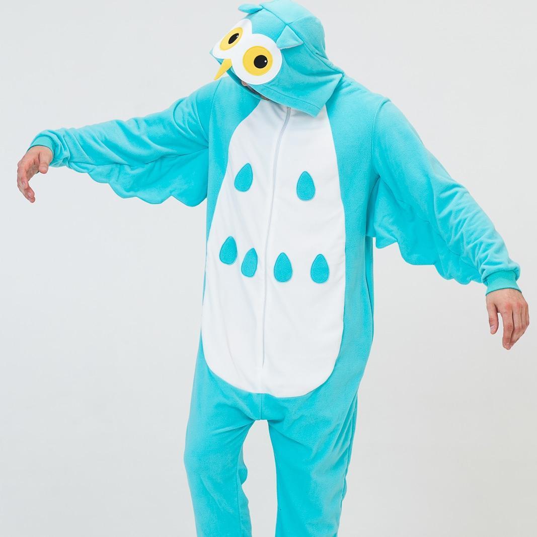 Пижама Кигуруми голубая Сова для всей семьи Украинское производство Размер 155-180 см