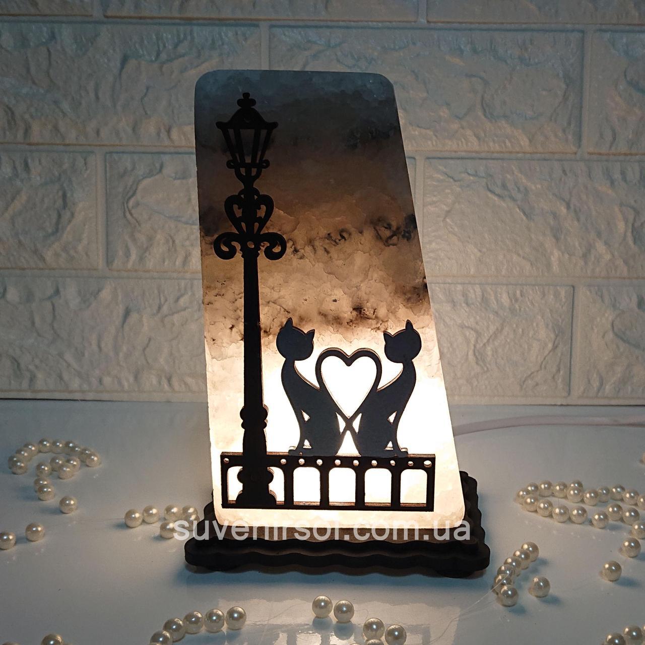 Соляний світильник Ліхтар+котыцветной