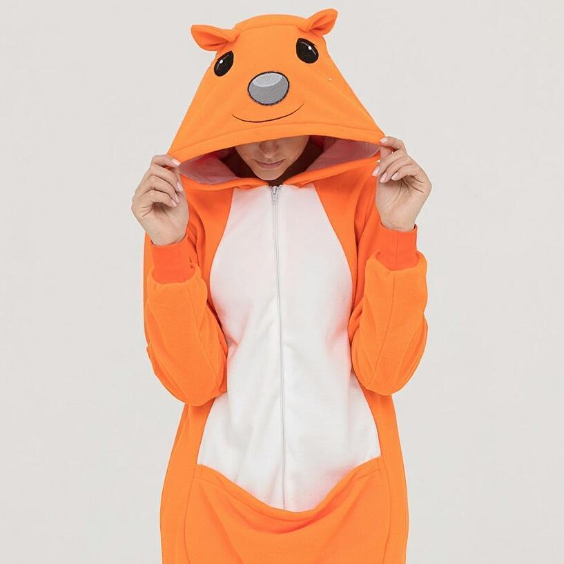 Пижама Кигуруми белочка для детей и взрослых Размер 181-200+ см