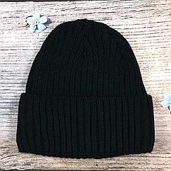 Черная мужская шапка в рубчик с полоской флиса (5 шт)