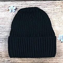 Синяя мужская шапка в рубчик с полоской флиса (5 шт)