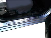 Mitsubishi Lancer 9 2004-2008 гг. Накладки на пороги Турция (4 шт, нерж) Carmos - Турецкая сталь