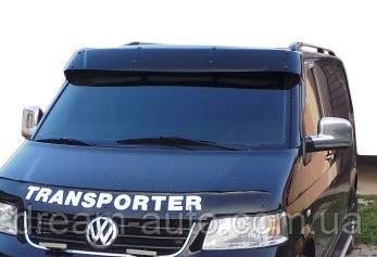 Volkswagen T5 Transporter 2003-2010 рр. Козирок на лобове скло (чорний глянець, 5мм)
