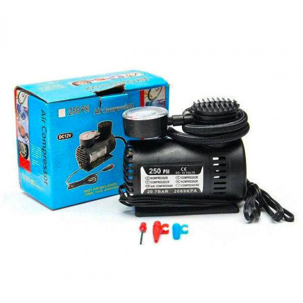 Автомобільний компресор авто насос від прикурювача 12в Air Compressor чорний
