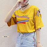 Женская футболка с надписями свободного кроя, фото 2