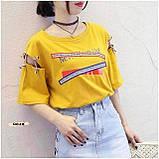 Женская футболка с надписями свободного кроя, фото 3
