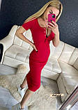 Женское платье футляр миди в рубчик на кнопках, фото 5