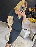 Женское платье футляр миди в рубчик на кнопках, фото 9