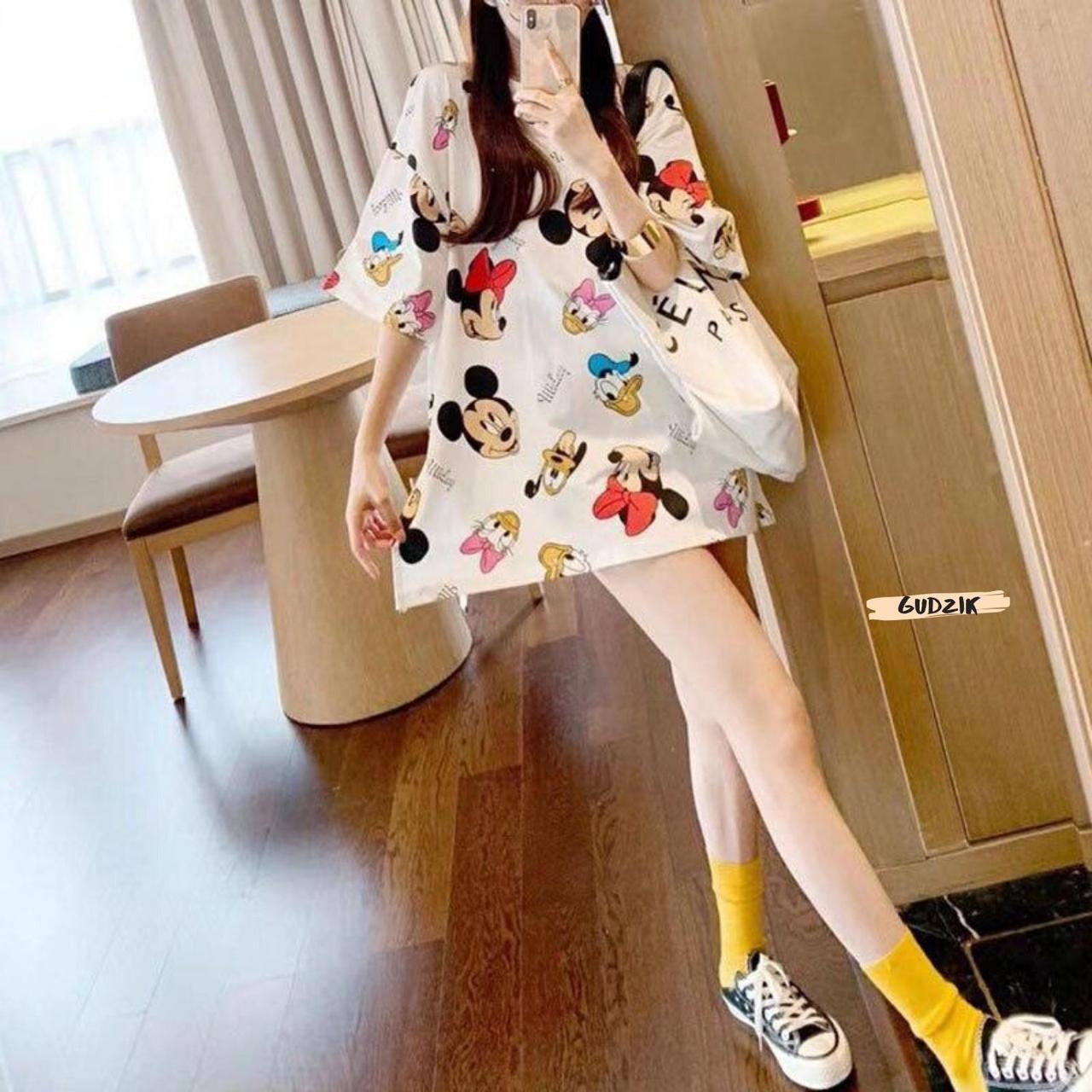 Женская модная футболка туника с мульт принтами микки маус дональд дак