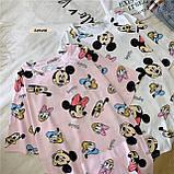 Женская модная футболка туника с мульт принтами микки маус дональд дак, фото 2