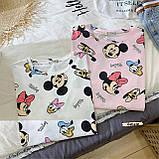 Женская модная футболка туника с мульт принтами микки маус дональд дак, фото 3