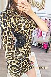 Женское платье с одним рукавом леопард, фото 4