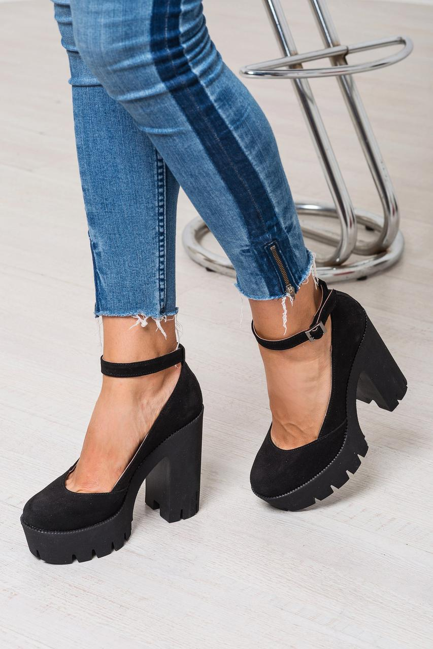 Туфли на толстом каблуке натуральная замша