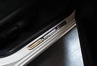 Ford Courier 2014↗ гг. Накладки на пороги с подсветкой (2 шт, нерж), фото 1