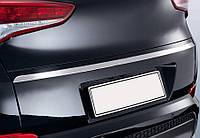 Hyundai Tucson TL 2016↗ гг. Кромка над номером (верхняя, узкая, нерж) OmsaLine - Итальянская нержавейка, фото 1