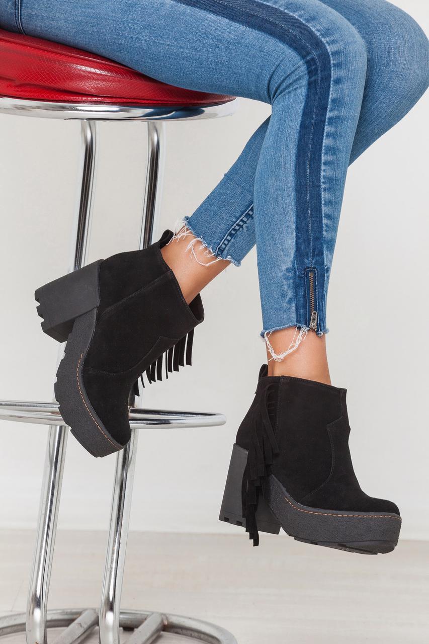 Женские ботинки Ботильоны с бахромой сбоку натуральная замша , натуральная кожа