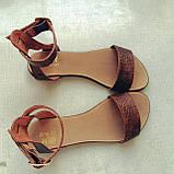 Женские Модные босоножки на плоской подошве из натуральной кожи , фото 4