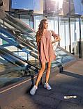 Женские льняное платье спущенные плечи с фонариками под пояс, фото 3