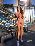 Женские льняное платье спущенные плечи с фонариками под пояс, фото 6