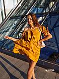 Женские льняное платье спущенные плечи с фонариками под пояс, фото 10