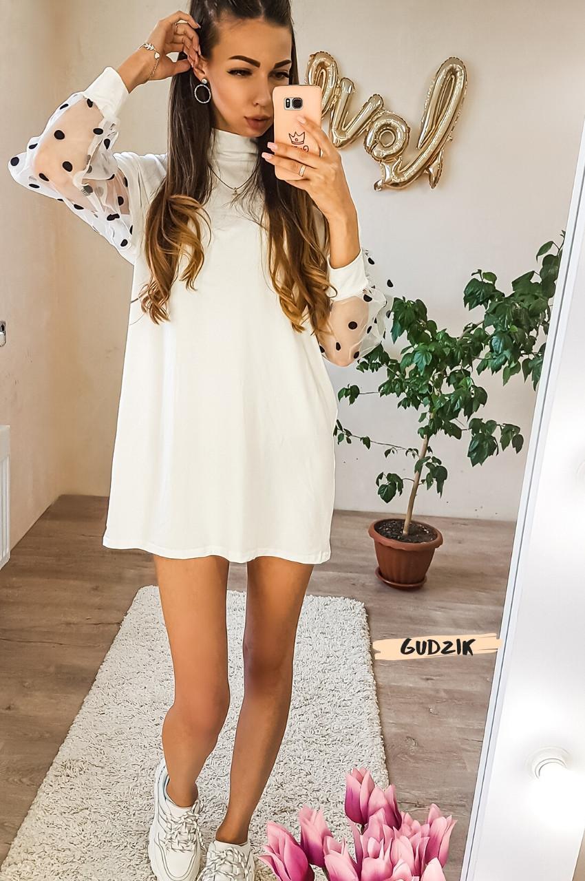 Женское платье с рукавами фонариками сеткой в горох белое