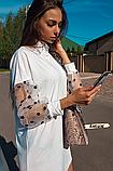 Женское платье с рукавами фонариками сеткой в горох белое, фото 4