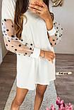 Женское платье с рукавами фонариками сеткой в горох белое, фото 5