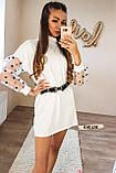 Женское платье с рукавами фонариками сеткой в горох белое, фото 6