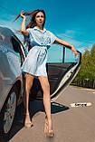 Женское котоновое платье в голубую полоску на пуговицах с кулиской, фото 2