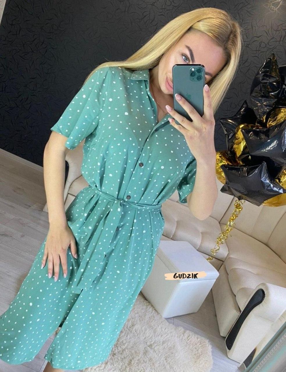 Женское платье рубашка миди с пуговицами в горошек