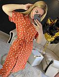 Женское платье рубашка миди с пуговицами в горошек, фото 2
