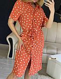 Женское платье рубашка миди с пуговицами в горошек, фото 3