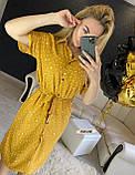 Женское платье рубашка миди с пуговицами в горошек, фото 4