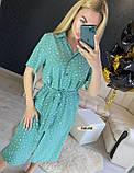 Женское платье рубашка миди с пуговицами в горошек, фото 5