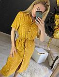 Женское платье рубашка миди с пуговицами в горошек, фото 7