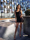 Женское платье в рубчик с рюшами на бретелях футляр, фото 2