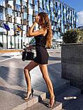 Женское платье в рубчик с рюшами на бретелях футляр, фото 3